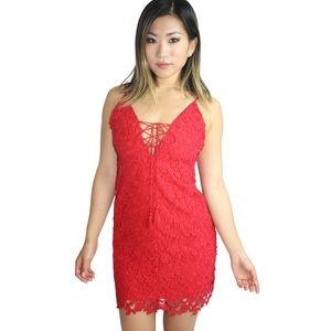 Jetset Diaries Private Beach Lace Mini Dress Red